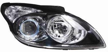 Far Hyundai I30 (FD) 03.2007-03.2012 TYC partea Dreapta pe negru cu bec H1+H7, negru, reglaj electric cu motoras
