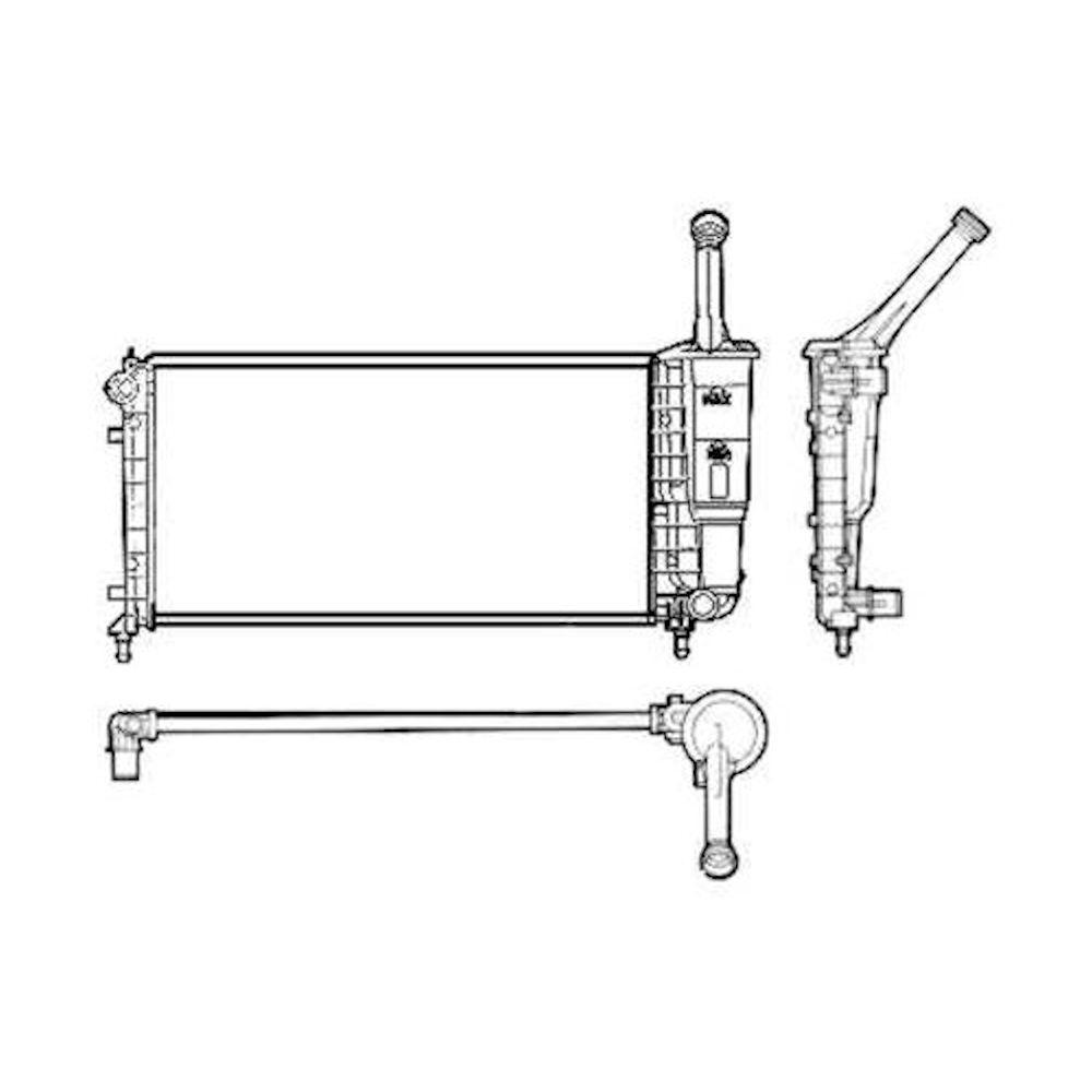 Radiator racire Lancia Ypsilon (843), 2003-2011, Motorizare 1, 2 44/59kw Benzina, tip climatizare Manual/Automat, Cu/fara AC, tip Magneti Marelli, dimensiune 580x317x18mm, Cu lipire fagure mecanica, DENSO
