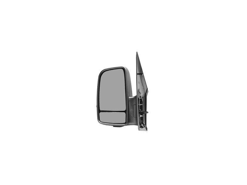 Oglinda exterioara Mercedes Sprinter 209-524 (W906) 07.2006-2017, VW Crafter (2E) 12.2005-04.2017, Stanga, Crom, manuala, Fara incalzire, carcasa neagra, Convex, View Max, cu semnalizare
