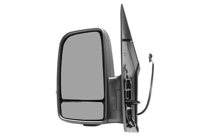 Oglinda exterioara Mercedes Sprinter 209-524, 07.2006-10.2013, Vw Crafter (2e), 12.2005-, partea Stanga, culoare sticla crom, sticla convexa, cu carcasa neagra, cu incalzire, ajustare electrica
