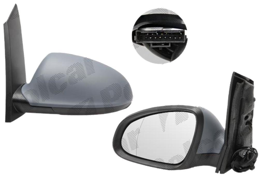 Oglinda exterioara Opel Astra J 09.2009- cu 7 pini, pt 5 usi partea dreapta View Max crom convex carcasa prevopsita grunduita reglare electrica cu incalzire