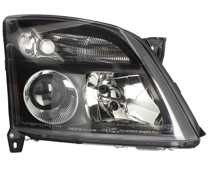 Far Opel Vectra C 09.2001-09.2005 SIGNUM 06.2003-09.2005 DEPO fata dreapta, tip bec H7+H7, culoare rama negru