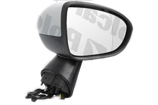 Oglinda exterioara Opel Meriva B, 06.2010-01.2014, partea Dreapta, culoare sticla crom, sticla convexa, cu carcasa grunduita, cu incalzire, ajustare electrica