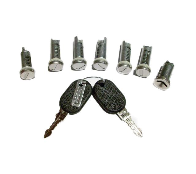 Set yale Peugeot Boxer, Citroen Jumper, Fiat Ducato (230), 06.1994-04.2002, set complet butuci yale 7 piese (5usi, 1 contact cheie si la buson rezervor )