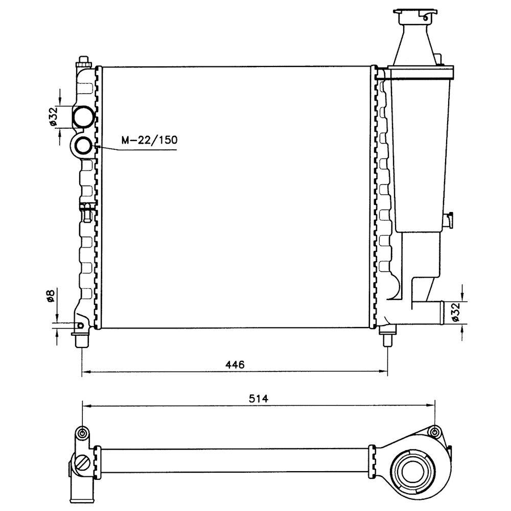 Radiator racire Peugeot 309, 05.1989-10.1993 Motor 1, 1 40/44kw; 1, 3 47/52kw; 1, 4 49/55/62kw; 1, 6 68/85kw; 1, 9 108/118kw Benzina/, tip climatizare Manual, Cu/fara AC, dimensiune 390x380x32mm, Cu lipire fagure mecanica, Original (VALEO)