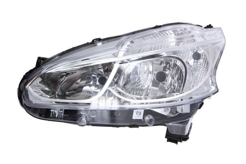 Far Peugeot 208, 04.2012-, Electric, tip bec H7+H7, omologare ECE, cu motoras, cu lumini de zi LED, Stanga, marca DEPO