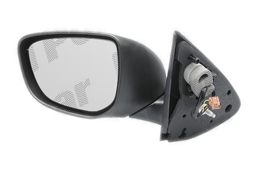 Oglinda exterioara Citroen C-Elysee, 11.2012-, Peugeot 301, 01.2013-, partea Dreapta, culoare sticla crom, sticla convexa, cu carcasa grunduita, ajustare manuala
