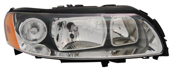 Far Volvo V70 (P80) 06.2004-03.2007/ S60 (RS) 03.2004-03.2009 /XC70 (SW) 05.2004-09.2007 TYC partea Dreapta electric fara motoras tip bec H7+H9, culoare gri