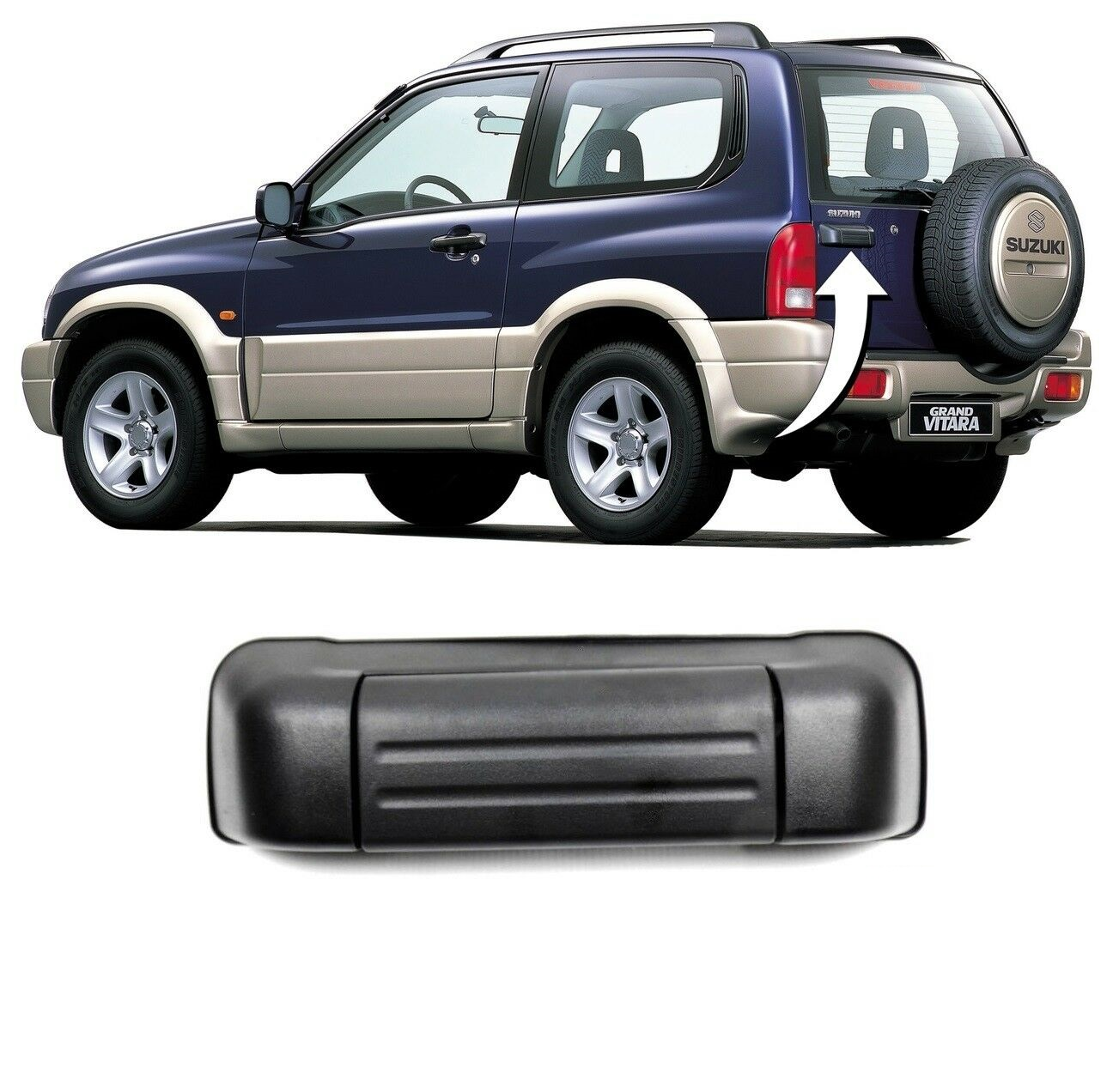 Maner usa exterior Suzuki Vitara Grand (Ft/Gt), 09.1997-09.2005, negru, usa spate / haion