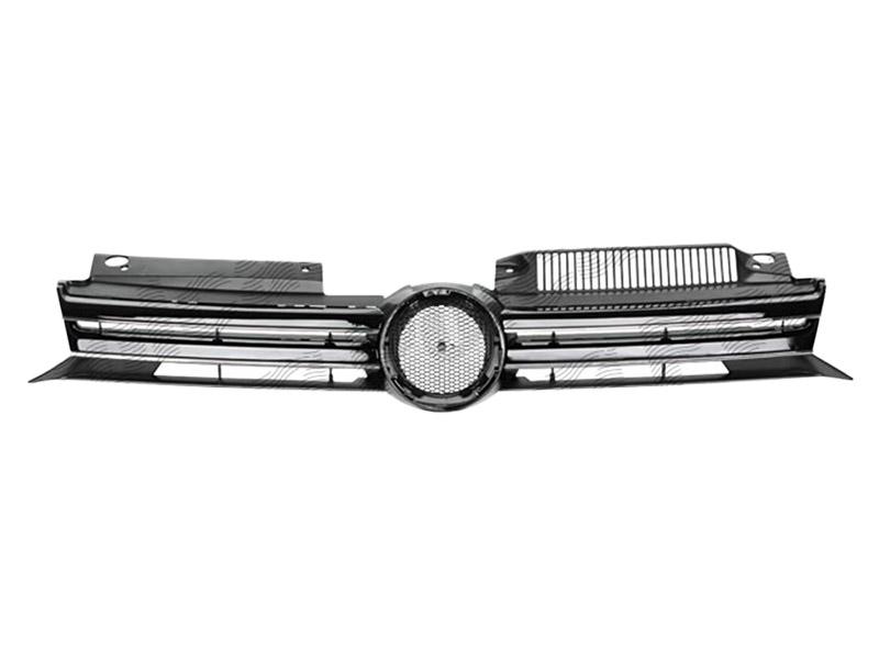 Grila radiator Vw Golf 6 (5K) Hatchback/Variant 10.2008-2013, grila masca fata neagra cu 2 ornamente cromate, 5K0853651AJ