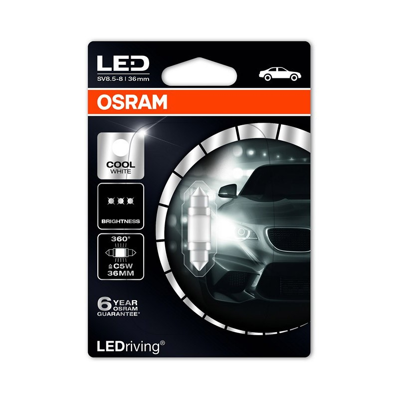 Bec auto Osram LED C5W 12 V 1W 6000k, bec sofit led, 1 buc. 6498CW