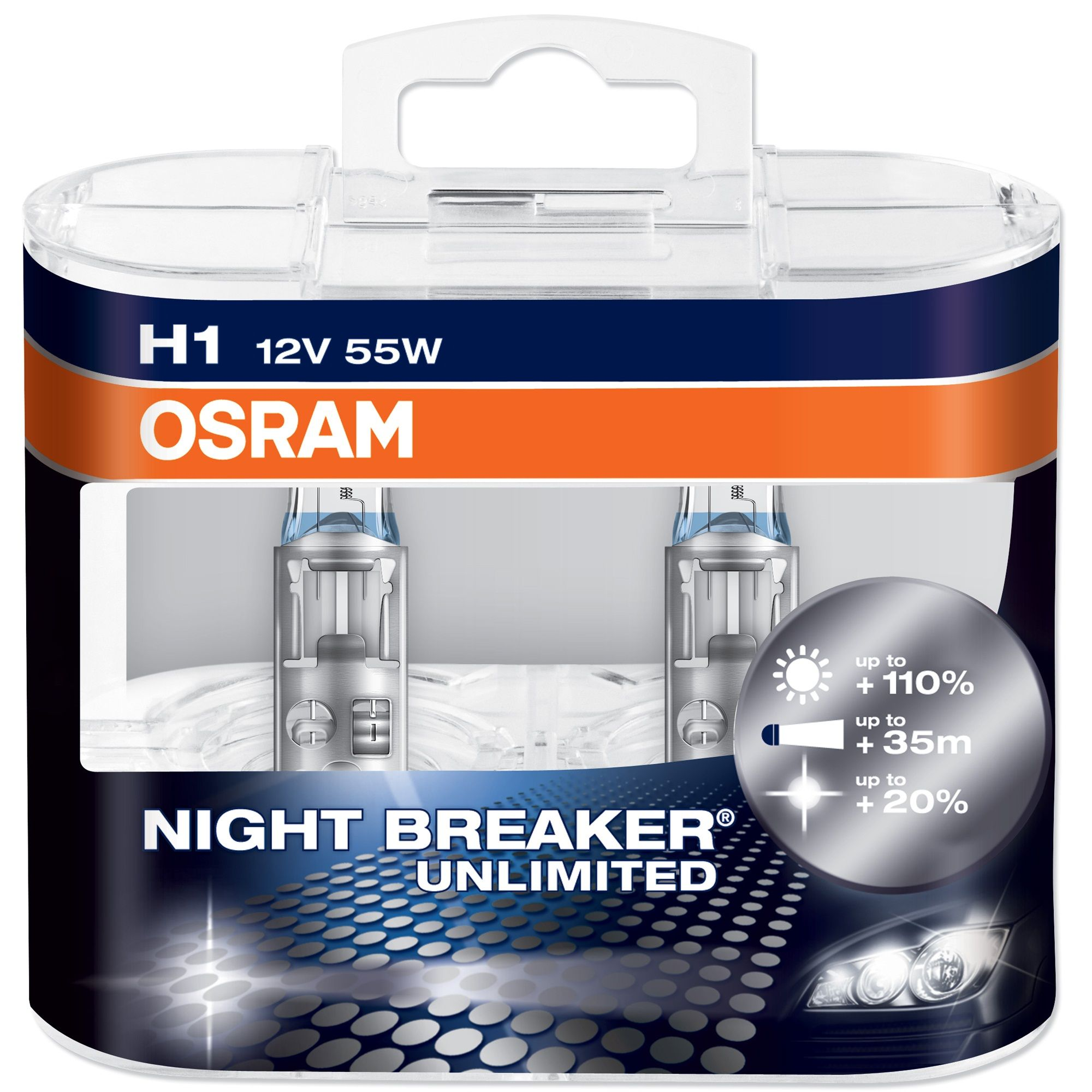 Becuri auto H1 far halogen Osram Night Breaker Unlimited 12V 55W P14.5s set de 2 buc
