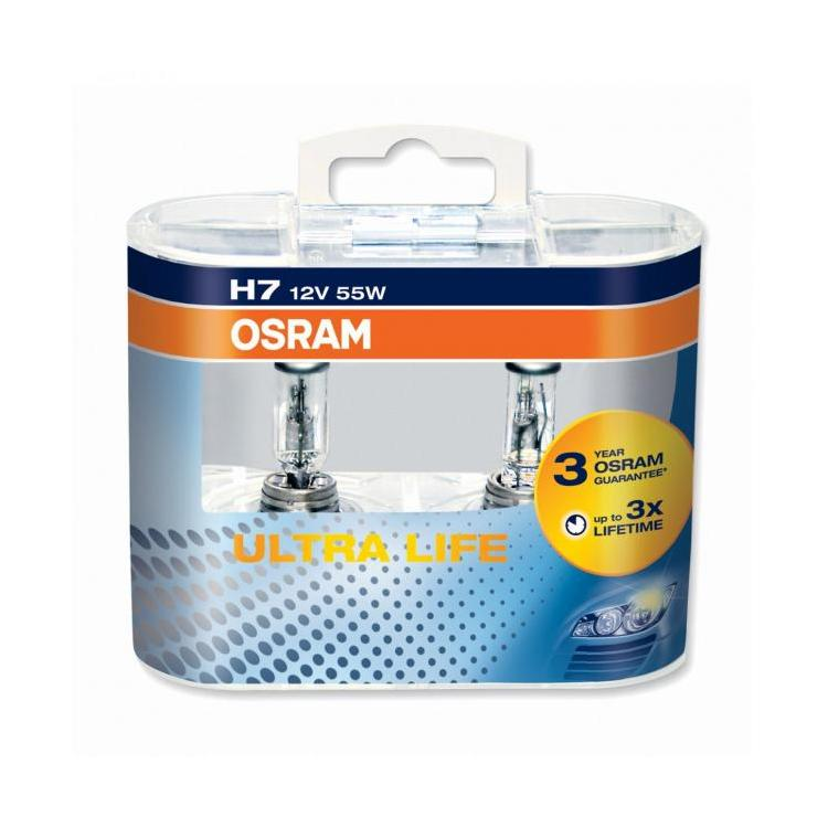 Becuri auto H7 12V 55W Px26d, Set 2 becuri Osram H7 UltraLife 64210ULT-HCB