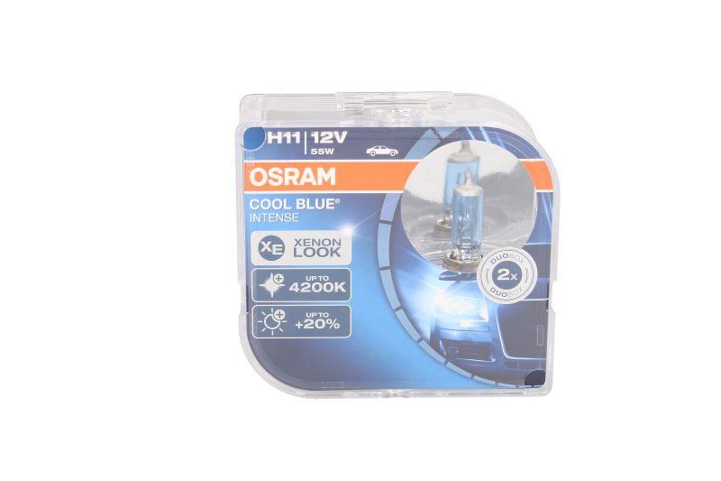 Set 2 becuri auto cu halogen pentru proiector Osram Cool Blue Intense H11 12V 55W PGJ19-2