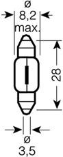 Bec auto Osram 6428 12V 3W SV7-8 8x28mm, bec plafoniera, lampa numar sofit Festoon , 1 buc.