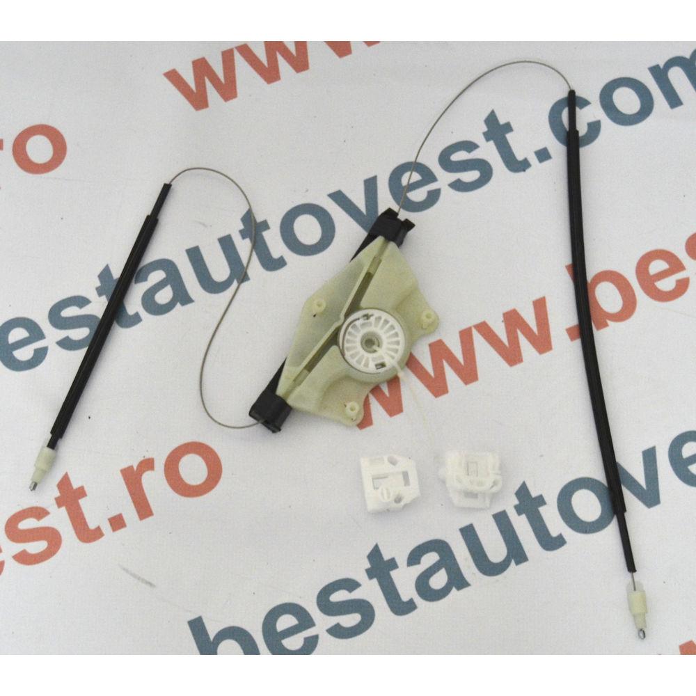 Kit reparatie macara geam fata Seat Leon 1M, Toledo 1999-2005, Stanga(cablu role si suport geam)