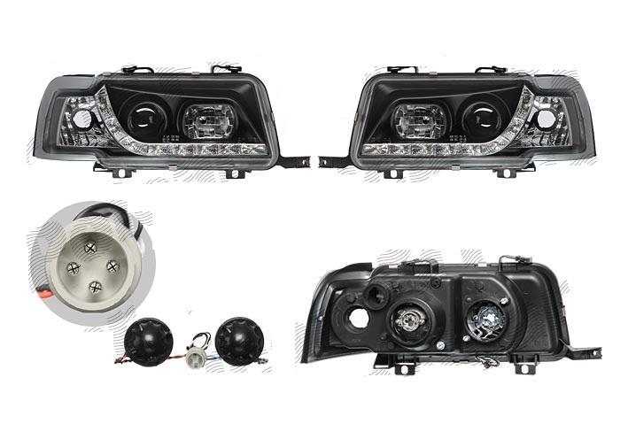 Set Faruri tuning Audi 80 (B4) 9.1991-12.1996 Aftermarket fata stanga-dreapta 130809FE transparent-negru