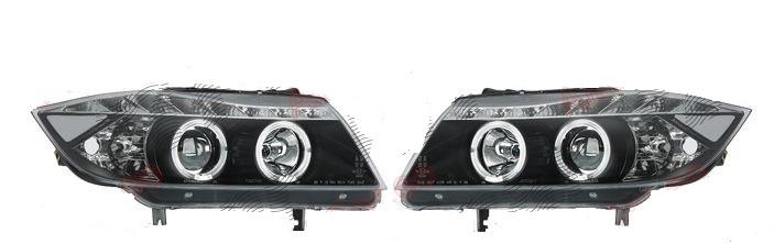 Set faruri tuning Bmw Seria 3 (E90/E91) Sedan /Touring 11.2004-08.2008 Aftermarket fata stanga+dreapta fumurii cu bec H1+H1