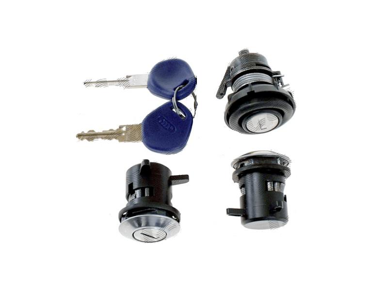 Set yale inchidere Fiat Punto 1 (176), 1993-1999, cu chei, cu 2 butuci blocare usa, cu blocare portbagaj si buton deschidere, fata/spate, stanga/dreapta,