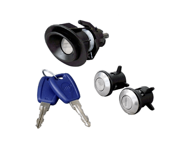 Set yale inchidere Fiat Punto 2 (188), 1999-07.2003, modele cu 3 Usi, cu chei, cu 2 butuci blocare usa, cu blocare portbagaj si buton deschidere,