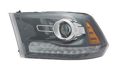 Far Dodge Ram (Ds/Dj) 2013-2014, Stanga, tip bec Hir2, reglaj manual, cu lupa, SAE, culoare negru, varianta pentru SUA TYC, 68093221AD,