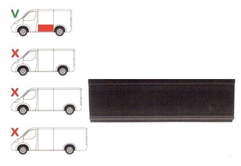 Panou reparatie lateral Ford Transit, 2001- 2013 ,Partea Stanga, Lateral, lungime 1184 mm, inaltime 302 mm, model scurt