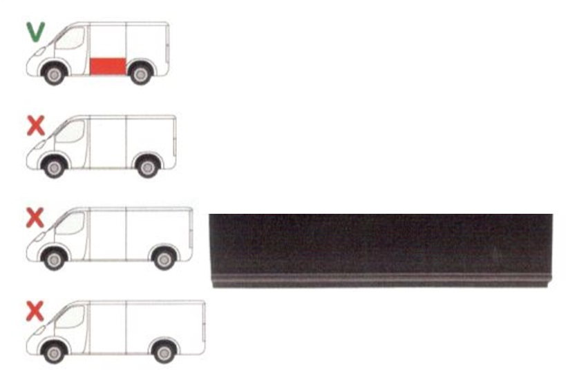 Panou reparatie lateral Ford TRANSIT (V184/5), 05.00-04.06 , TRANSIT/TOURNEO (V347/8), 05.06-04.13 Partea Stanga, Lateral, Model Scurt, lungime 1190mm , inaltime 260mm