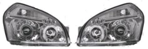 Set faruri tuning Hyundai Tucson (JM) 06.2004-10.2009 Aftermarket partea Dreapta/ Stanga tip bec H1+H1 cu lumina pozitie fibra , angel eyes, argintiu