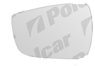 Geam oglinda Hyundai I30 (Gd) 03.2012-2016, Veloster 05.2011- partea stanga Aftermarket crom convex cu incalzire