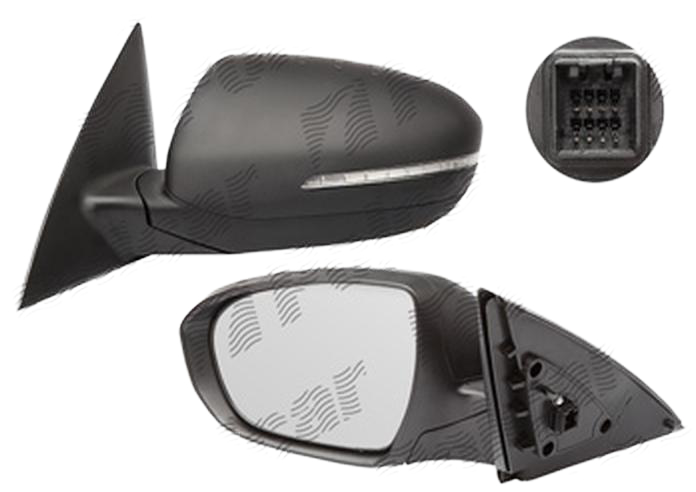 Oglinda exterioara Kia Optima (Jf), 10.2015-, Kia Optima (Tf), 06.2010- , partea Stanga, culoare sticla crom , sticla convexa, cu carcasa neagra, cu incalzire, ajustare electrica,