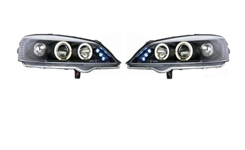 Set faruri tuning Opel Astra G 01.1998- 08.2009 Aftermarket fata stanga+dreapta , transparent negru, tip bec H1+H1