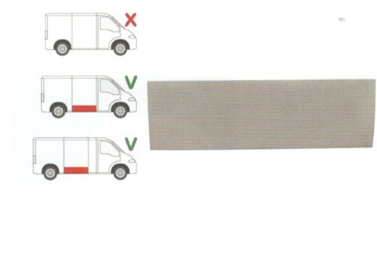Panou reparatie usa Citroen JUMPER (230), 06.1994-08.2006, Fiat DUCATO (230), 03.1994-09.2006, Peugeot BOXER (230), 06.1994-08.2006 partea dreapta, lungime 1395, inaltime 420 mm; parte inferioara ; usa culisanta (pt modele Mijlociu/Lung),