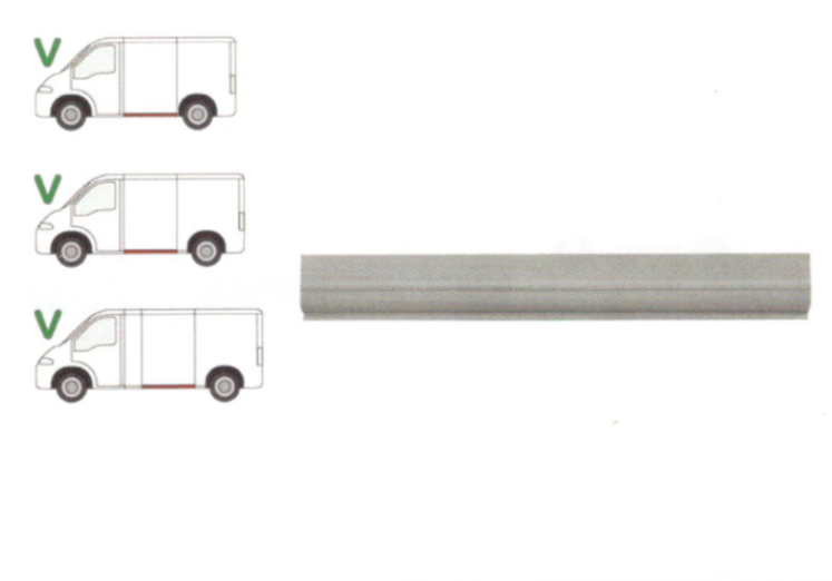 Segment reparatie panou lateral Citroen Jumper (230/244) 06.1994-08.2006, Fiat Ducato (230/244) 03.1994-09.2006, Peugeot Boxer (230/244) 06.1994-08.2006 , partea Stanga, Lungime 1395, inaltime 180 Mm, Inferior Pt Modele Scurt/Mijlociu/Lung,