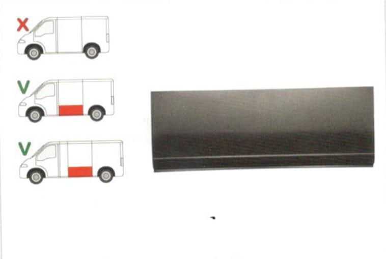Segment reparatie panou lateral Citroen Jumper (230/244) 06.1994-08.2006, Fiat Ducato (230/244) 03.1994-09.2006, Peugeot Boxer (230/244) 06.1994-08.2006 , partea Stanga, Lungime 1393, inaltime400 Mm,Partea Inferioara,Pt Modele Scurt/Mijlociu/Lung,