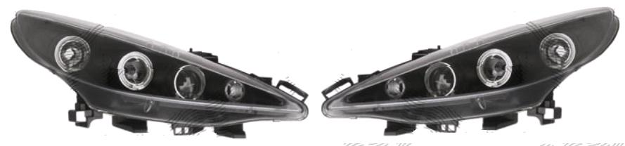 Set faruri tuning Peugeot 207 (W_) 05.2006-12.2013 Aftermarket partea Dreapta+Stanga H1+H1 manual transparent negru
