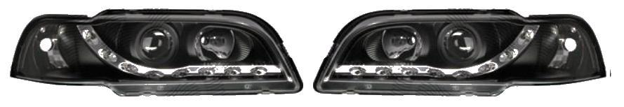 Set faruri tuning Volvo S40 / V40 1996-2000 Aftermarket partea Dreapta+ Stanga tip bec H1+H1, cu lumina parcare LED, transparent negru