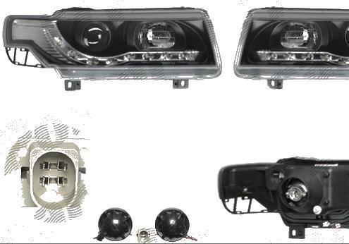 Set faruri tuning VW Passat Sedan+Combi (B4 (3A)) 10.1993-10.1996 Aftermarket partea Dreapta+Stanga daytime running light, tip bec H1+H1, negru-transparent