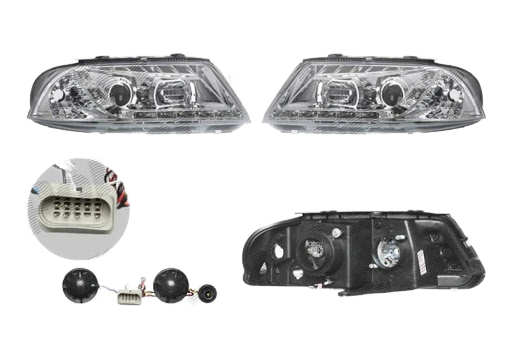 Set faruri tuning VW Passat Sedan+Combi (B5 (3B GP)) 11.2000-01.2005 Aftermarket partea Dreapta+Stanga daytime running light, tip bec H1+H1, transparent-silver,