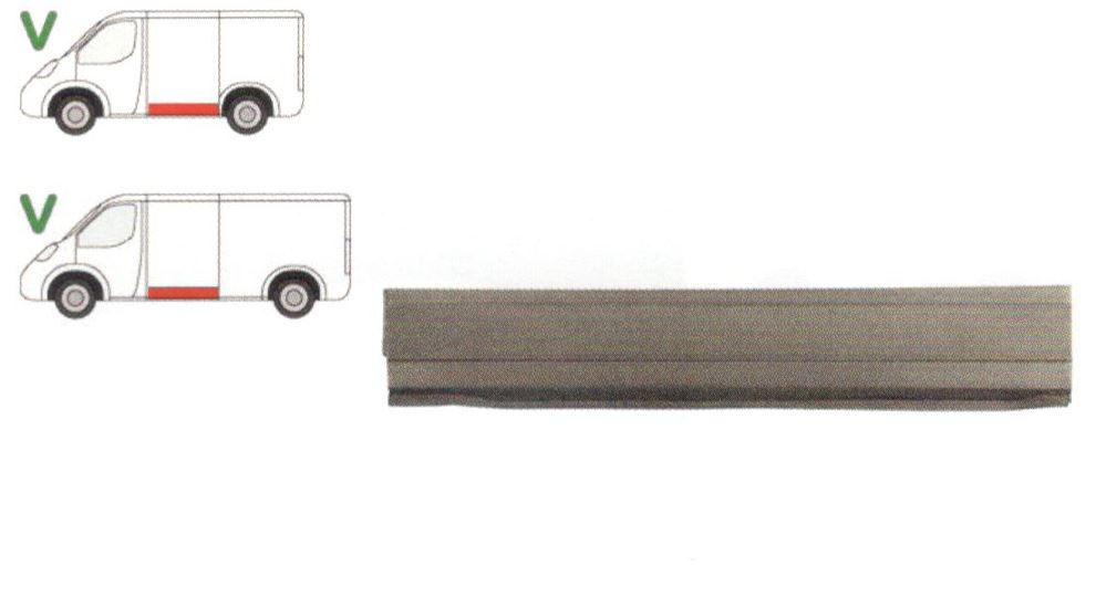 Panou reparatie lateral Vw Transporter T4, 1990- 2003, Partea Stanga, Lateral, lungime 1385 mm ,inaltime 260 mm, parte inferioara