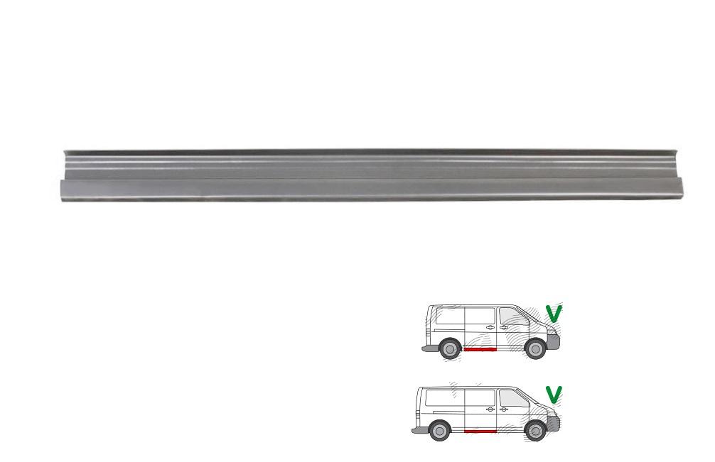 Segment reparatie prag Vw Transporter/Multivan (T5) 04.2003-10.2009; Vw Transporter/Multivan (T5) 10.2009- , partea Dreapta, Sub Usa Culisanta; Lungimea =1300mm; Partea Inferioara,