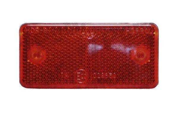 Catadioptru reflectorizant universal rosu Aftermarket partea dreapta/stanga 89x40x6mm banda adeziva