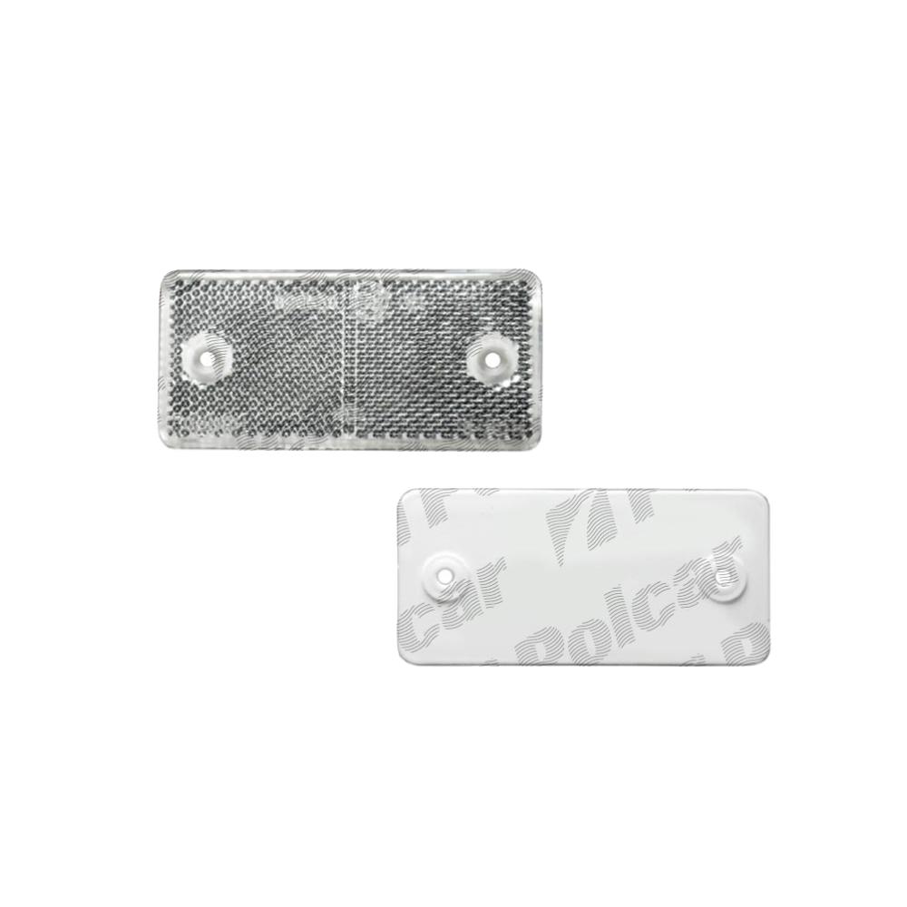 Catadioptru reflectorizant alb universal Aftermarket partea dreapta/stanga , 89x40x6mm , dreptunghiular , distanta intre gauri 70mm, 1 buc.
