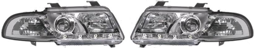 Set faruri tuning Audi A4 Sedan 1999-2000/Avant 1999-2001 Aftermarket day time running light , negru-transparent