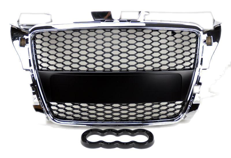 Grila radiator Audi A3 (8P), 04.2008-10.2012, crom/negru, cu gauri pentru senzori de parcare, 8P0853651JIQP, 133205-1