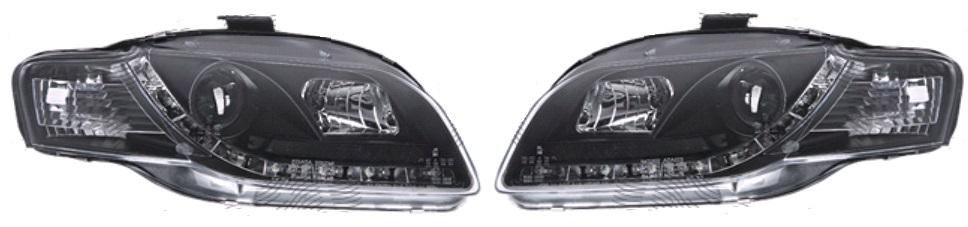 Set faruri tuning Audi A4 (B7) 11.2004-03.2008 Aftermarket fata stanga-dreapta tip bec H1+H7 transparent-negru fumuriu