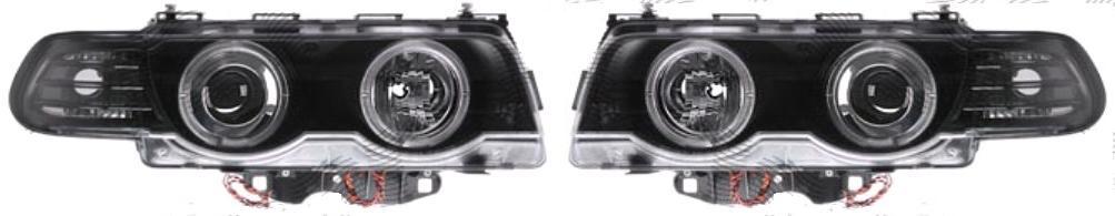 Set faruri tuning Bmw Seria 7 (E38) 09.1998-12.2001 Aftermarket fata stanga+dreapta tip bec D2S+H7, transparent-negru