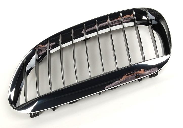 Grila radiator Bmw Seria 6 (E63/ E64), 01.2004-07.2010, dreapta, crom/crom/negru, 51137077932, 203005-2