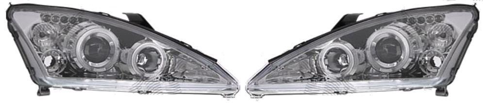 Set faruri tuning Ford Focus (DAW/DBW/DNW/DFW) 09.2001-11.2004 Aftermarket partea dreapta+stanga H1+H1 manual/electric, transparent-silver