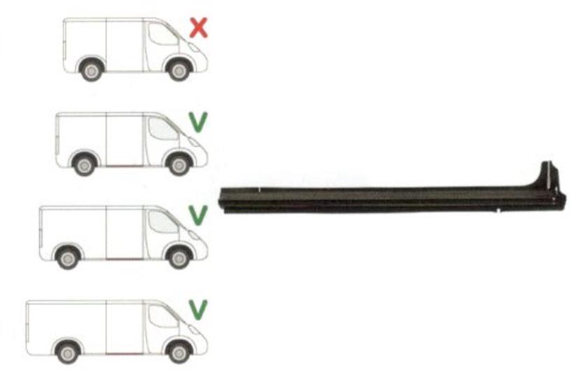 Prag Ford Transit (V184/5) 05.2000-04.2006 Dreapta , sub usa culisanta model Mijlociu/LUNG , lungime 1430mm, prag din metal