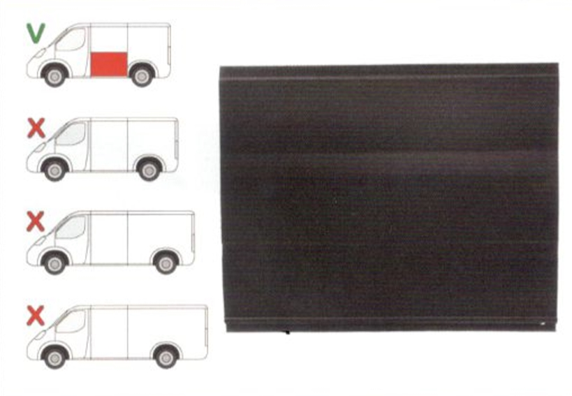 Panou reparatie lateral Ford TRANSIT (V184/5), 05.00-04.06, TRANSIT/TOURNEO (V347/8), 05.06-04.13 Partea Stanga, Lateral, lungime 1187 mm ,inaltime 970 mm, Model Scurt